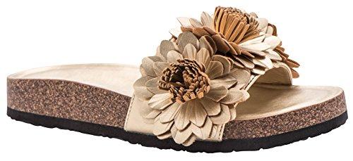 Cambridge Select Womens Open Toe Flower Fringe Detail Flatform Slip-On Flat Slide Sandal Champagne z1bFnfKWg