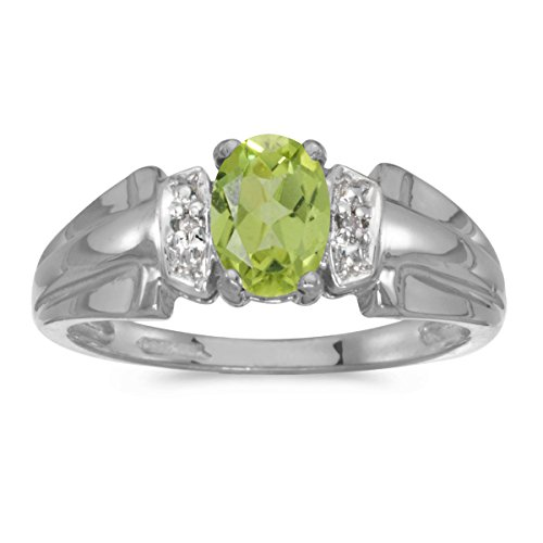 0.68 Carat ctw 10k Gold Oval Green Peridot Solitaire Diamond Engagement Anniversary Ring Polished Band - White-gold, Size 7