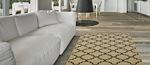 Florida Door Mat (Anti-Bacterial Rubber Back RUGS RUNNERS Non-Skid/Slip 2x5 Runner Rug | Ivory Moroccan Trellis Thin Low Profile Modern Home Floor Bathroom Kitchen Hallways Colorful Decorative Rug)