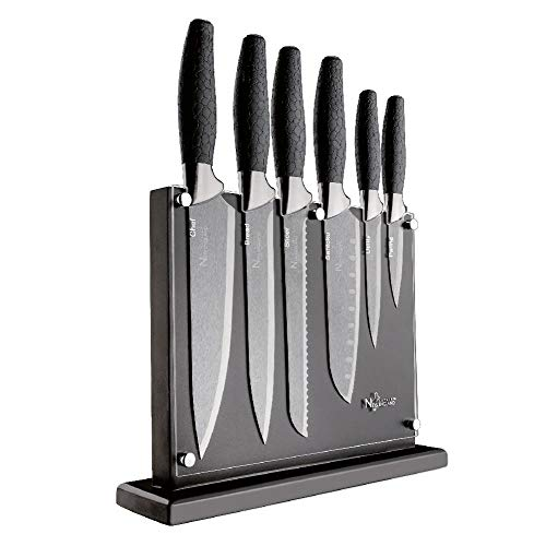 (New England Cutlery 7-Piece Titanium Coated Knife Block Set - Silver)