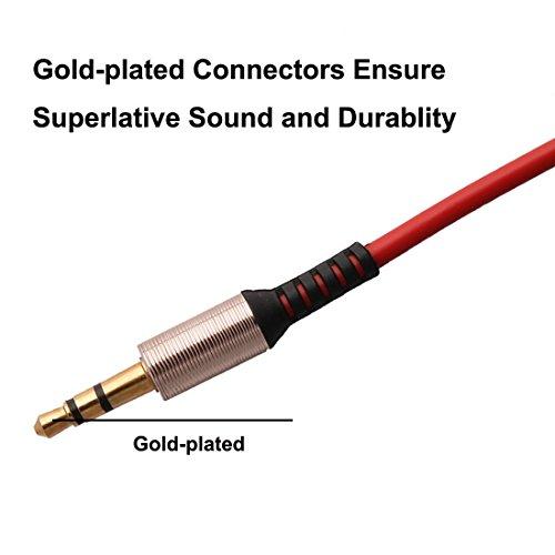 Amazon.com: DealMux 3,5 mm macho para macho de 90 graus Stereo angular Aux áudio Extensão Red Cabo: Electronics