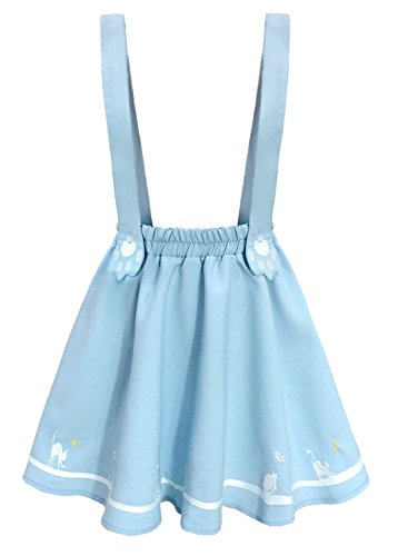 Embroidered Blue Overalls - Doballa Women's Cute Cat Paw Embroidered Adjustable Suspender Pleated Lolita Mini Skirt