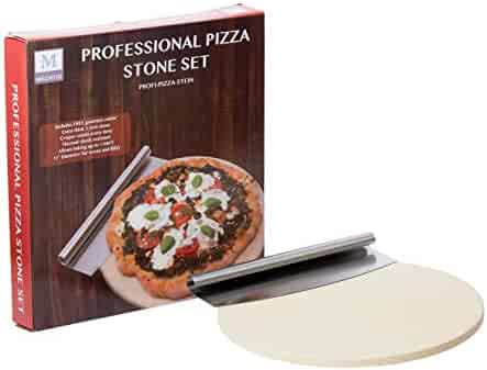 Mächtig Ove Extra Thick Best Pizza Set for Oven or Grill Certified Food Safe. Thermal Shock Resistant. 15'' Circular Stone Comes with Free Gourmet Stainless
