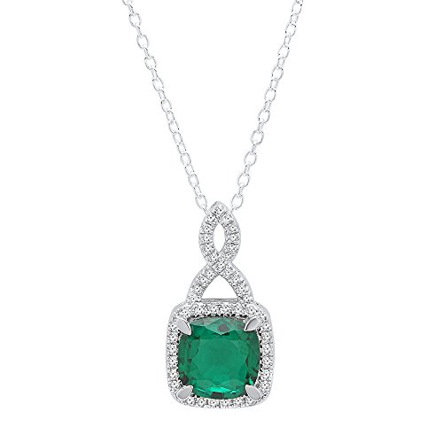 DazzlingRock Collection 14K White Gold 8 MM Cushion Cut Lab Created Gemstone & Round Cut White Diamond Ladies Halo Pendant (created-emerald) (Emerald 8mm Cut Setting Pendant)