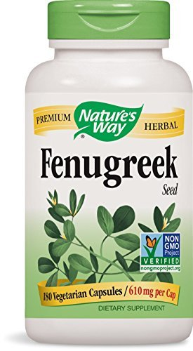 Natures Way Fenugreek Seed, 610 milligrams Per Cap, 180 Vegetarian Capsules. Pack of 4 bottles. by Nature's Way