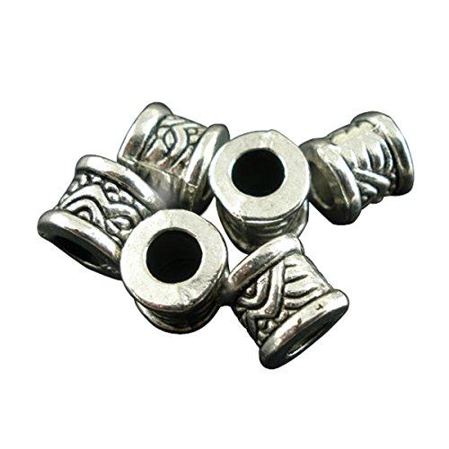 Housweety Bijoux 50 Perles intercalaires tube motif 8x7mm