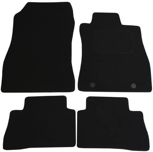 Black 4 Pieces JVL Fully Tailored Car Mat Set with 2 Clips