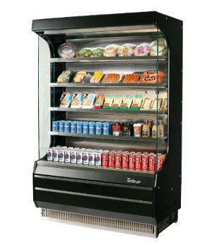 Turbo Air TOM-40B Black Vertical Open Display Case Cooler Full