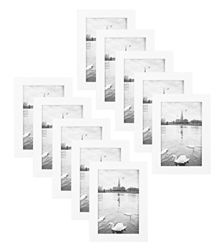 Golden State Art Set of 10, 4x6 Simple Wood Picture Frame -