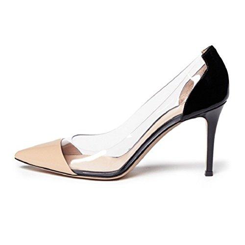 Stilettos Shoes Da Nudo Rilevare Eldof High Scarpe Puntale Wedding Toe Eldof Pumps Heel Pointed Tallone 8 Sposa Stiletti Womens Pvc Transparent Nude 8cm Womens Trasparenti Alto Centimetri Cap Pvc T4qwfxpTZW