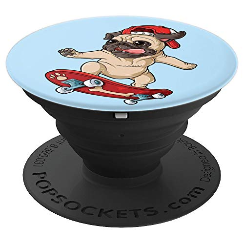 Cute Pug Skateboard Cool Dog Skater Skateboarding Baby blue - PopSockets Grip and Stand for Phones and Tablets ()