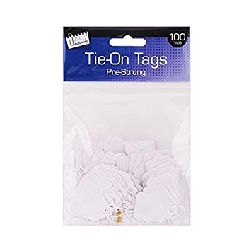 100 White Strung Tags Labels Pre Strung Tie on Tags 25 x 39mm Jewelry Craft