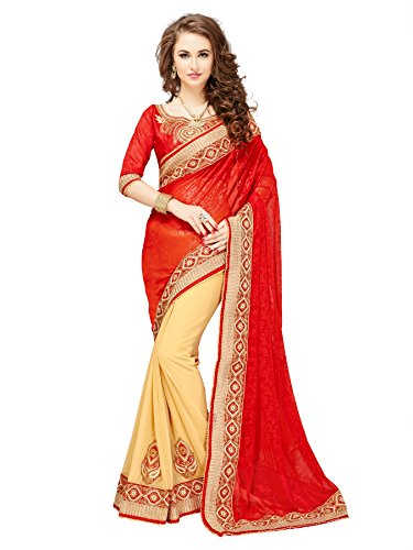 Glory Sarees Georgette Saree (Mb561_Red And Beige)