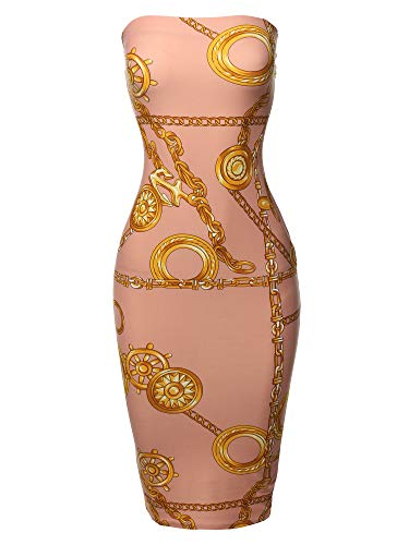 (Made by Emma Super Sexy Comfortable Tube Top Bodycon Strips Midi Dress Chain Pink M)