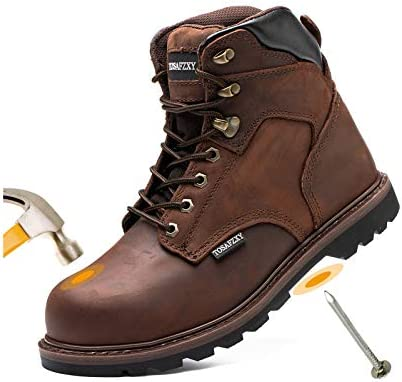 TOSAFZXY Work Safety Boots for Men Durable Crazy-Horse Leather Indestructible Steel Toe Waterproof and Non-Slip Better Warmth Men Work Shoes Size 7-13