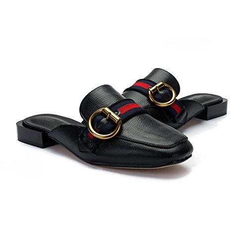 Black Muller Zapatos Casuales Hebilla Blanco Mujer Rojo Zapatillas Negro MSM4 Zapatos Metal Sandalias De P5O1q