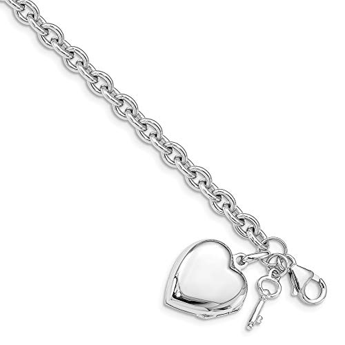(Sterling Silver Rhodium-Plated Puffed Heart Locket Bracelet)