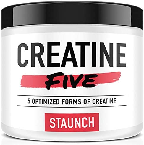 Staunch Creatine Five Creatine Powder Fruit Punch 30 Servings – Creatine Monohydrate, MagnaPower, Tri-Creatine Malate, Creatine Pyruvate, and Creatine Anhydrous