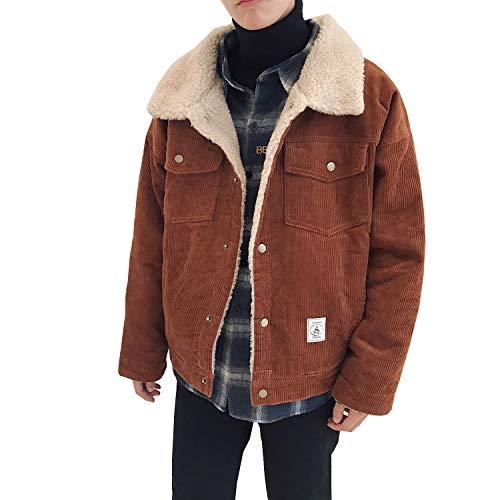 Men's Vintage Loose Sherpa Lined Shearling Corduroy Trucker Jacket Brown