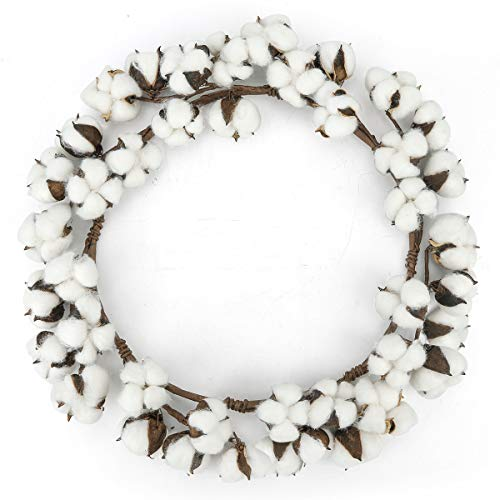 HANTAJANSS Real Cotton Wreath for Front Door 17 Inches, White Adjustable Dried Cotton Bolls Flowers Garland with Stems for Window, Wall, Centerpiece, Wedding, Home, Party Décor (Garlands Wreaths And)