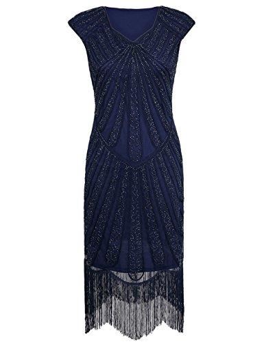 PrettyGuide Mujeres 1920s Cóctel Perlas Art Deco Vestido de Flapper Armada