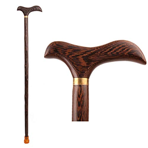 Wooden Walking Stick with Dragon Head Ergonomic Palm Grip Handle Wood Carved Walking Cane for Men Women,G,ForHeight170~175CM