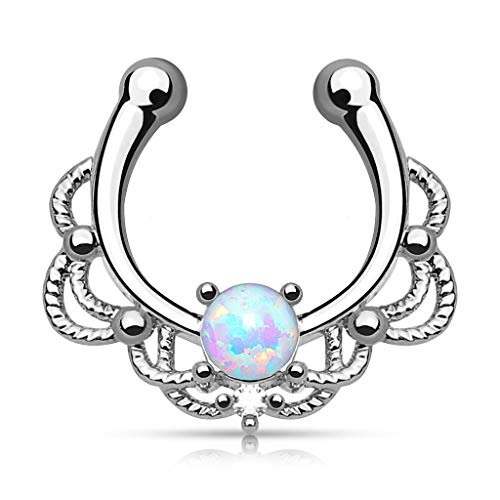 Lacey Single Opal 16g Septum Hanger Clip On Non No Piercing - Choose Blue, White, Pink or Purple Synthetic Opal (White)