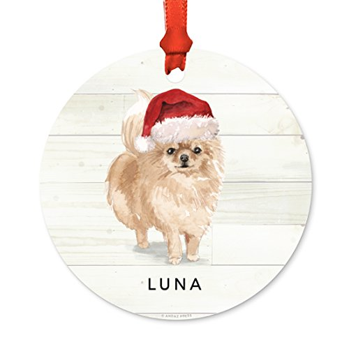 Andaz Press Personalized Animal Pet Dog Metal Christmas Ornament, Pomeranian with Santa Hat, 1-Pack, Includes Ribbon and Gift Bag, Custom Name