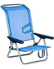 Solenny 50001072720095 -  Silla Playera-Cama 4 Posiciones  Azul con Asas