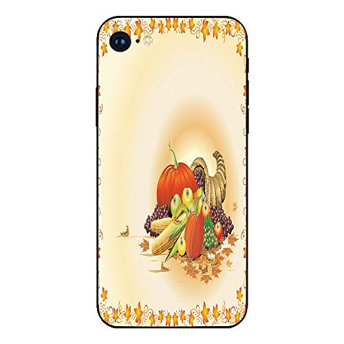 Phone Case Compatible with iphone7 iphone8 mobile phone covers phone shell Brandnew Tempered Glass Backplane,Harvest,Maple Tree Frame with Rustic Composition for Thanksgiving Halloween Dinner Food,Mul -