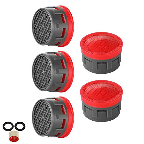 (JQK Faucet Aerator, 2.2 GPM Flow Retrictor Insert Faucet Aerators Replacement Parts Bathroom 5 Pack, Standard Size, FAN22-P5)