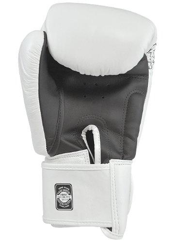 Twins Special Signature Leather Muay Thai Boxing Gloves w/ Dragon Print (White w/ Black, 16oz)