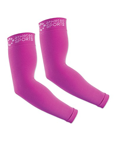Athletec Sport Compression Arm Sleeve (20-30 mmHg) for Basketball, Baseball, Football, Cycling, Golf, Tennis, Arthritis, Tendonitis - Size Small/Medium in Hot Pink (One Pair)