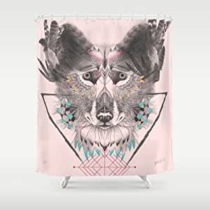 Society6 - Native Wolf Shower Curtain by VALISTIKA STORE