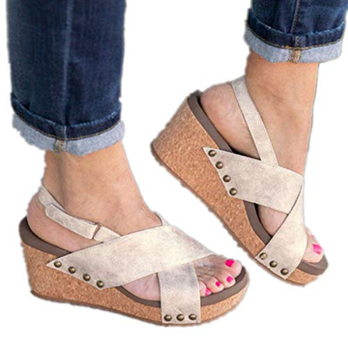 Women's Open Toe Strappy Wedge - Summer Vegan Leather High Platform Sandal - Low Heeled Shoes -