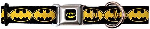 "Buckle-Down DC-WBM020-WL BMC Batman Black/Yellow Dog Collar, WIDE-Large/18-32"""