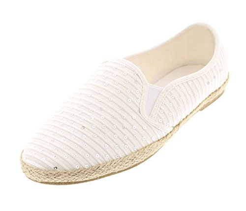 Gold Toe Women's Mara Canvas Alpargatas Espadrille Flat Casual Slip On Shoes With Memory Foam Insole White 8 US