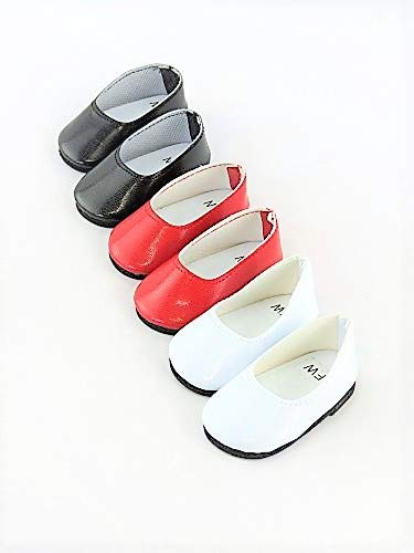 3 pack of flats: red, white, and black-Fits 18