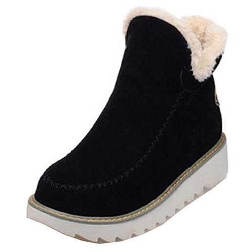 Mashiaoyi Women's Warm Flat Slip-on Short Snow Boots Black nZKBxh8a