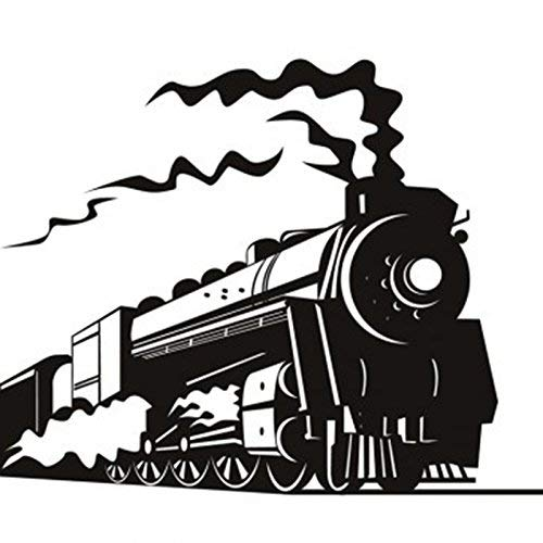 black steam train wall decals
