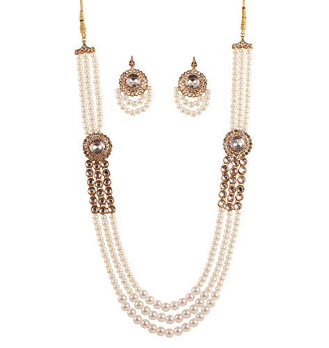 Touchstone New Contemporary Kundan Collection Indian Bollywood Fame Kundan Polki Look Rhinestone Faux Pearls Strings Gleaming Bride Designer Jewelry Long Necklace in Antique Gold Tone for Women.