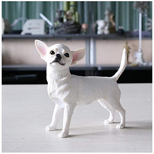 PAPPET Chihuahua Figurine Cute Chihuahua Action Figures Toys Collectible Statue Creative Puppy Animal Doll for Children Kid's Birthday Home Decorations (White)