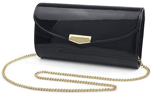 Women Glossy Evening Clutch Faux Patent Leather Chain Shoulder Bag Large Capacity Purse (Black)