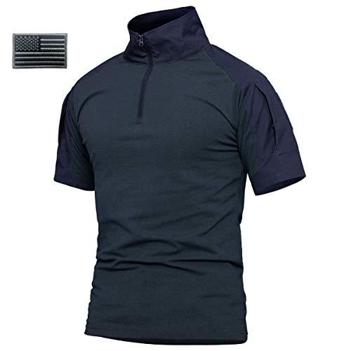ReFire Gear Men's Military Tactical Army Combat Short Sleeve Shirt Slim Fit Camo T-Shirt with 1/4 Zipper (US X-Large, Navy Blue-Short) ()