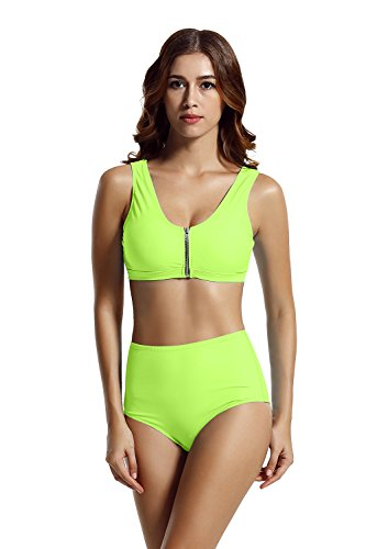 zeraca Racerback Zipper High Waisted Bikini Swimsuit (M10, Lime - Lime Swimsuit