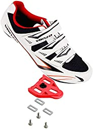 Venzo Bicycle Men's Road Cycling Riding Shoes - 3 Straps- Compatible with