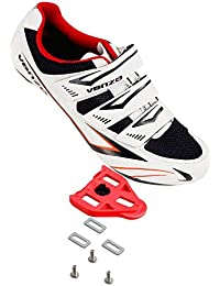 Bicycle Men's or Women's Road Cycling Riding Shoes - 3 Straps- Compatible with Peloton Shimano SPD & Look ARC Delta - Perfect for Indoor Spin Road Racing Bikes Black