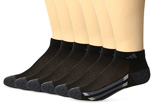 Adidas Crew Cut Socks - adidas Youth Cushioned 6pk Low Cut Sock, Black/Black-Onyx Marl/Light Onyx/Onyx, Large
