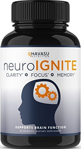 Havasu Nutrition Extra Strength Brain Supplement for Focus, Energy, Memory Clarity – Mental Performance Nootropic with St Johns Wort – Supports Brain Function for Men Women – 30 Capsules 1