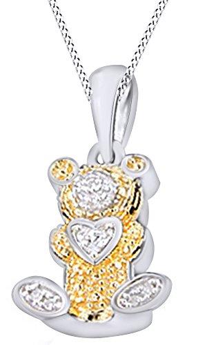 Wishrocks White Natural Diamond hip Hop Teddy Bear Pendant in 14K Gold Over Sterling Silver -